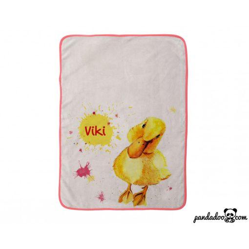 Kiskacsa - festett mintás, névre szóló babatakaró