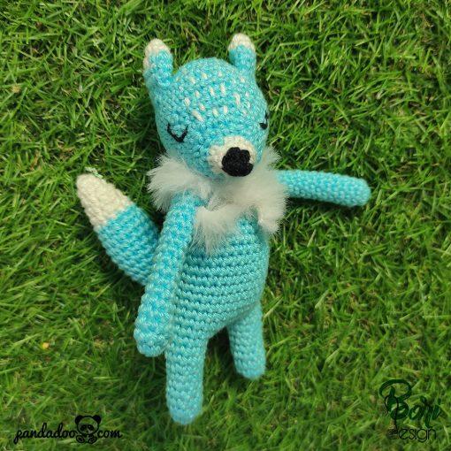 Horgolt figura, kék róka