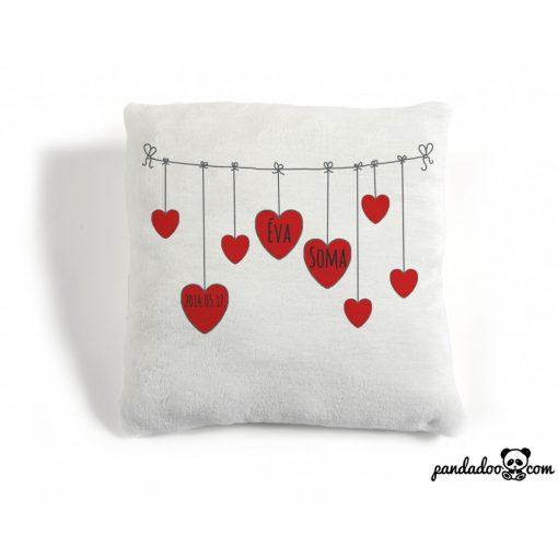 Szerelmes szívek a szárítón - párna nevekkel